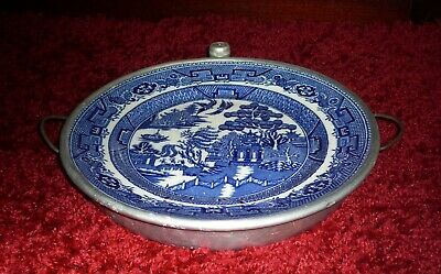 Vintage Willow Pattern Plate Warmer  Complete With Stopper • 10£