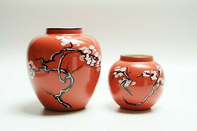 2x CARLTON WARE England Cherry Blossom Pink Vases - Large And Small • 12£