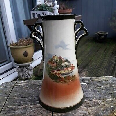 Antique Royal Doulton Hand Painted Vase With Castle And Lighthouse Scene  • 15£