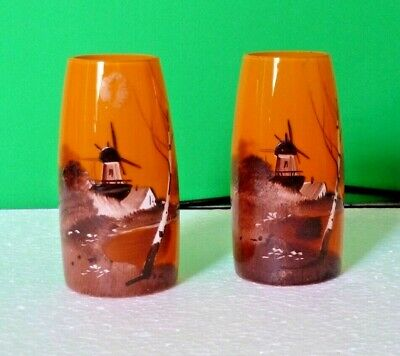 Pair Of Amber Coloured Hand Painted Glass Bud Vases • 4£