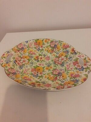 James Kent Ltd Primula Handled Side Plate - Pottery With Flower Pattern • 8.25£