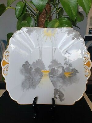 % WOW % Shelley: Queen Anne Shape  Sunrise/Sunset & Tall Trees  Cake Plate. • 4.99£