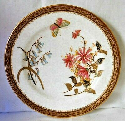 Antique Royal Worcester Gilded Cabinet Botanical Plate With Butterfly, C.1898 #1 • 15£