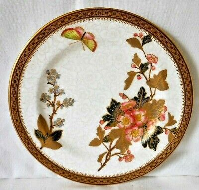 Antique Royal Worcester Gilded Cabinet Botanical Plate With Butterfly, C.1898 #2 • 15£