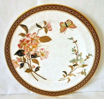 Antique Royal Worcester Gilded Cabinet Botanical Plate With Butterfly, C.1898 #4 • 15£