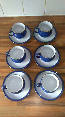 Denby Imperial Blue 6 Tea Cups And Saucer Set • 18£