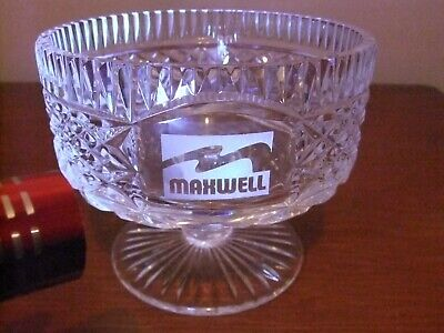 Tyrone Crystal Footed Bowl With Etched Maxwell Motif • 10£