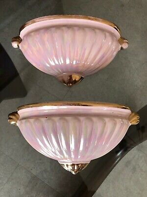 Pair Of Sadler Ascot Wall Pockets Pink & Gold Lustre Art Deco Style • 19£