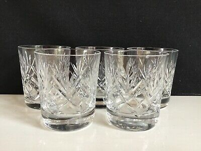 Five Crystal Cut Bowl Small Whiskey Glasses • 15£