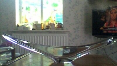 Vintage Daum FRANCE Elongated Swallowtail Centerpiece Crystal Glass Bowl Signed • 130£