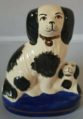 Unusual Victorian Vintage Black And White Staffordshire Dogs On Cobalt Blue Base • 7.50£