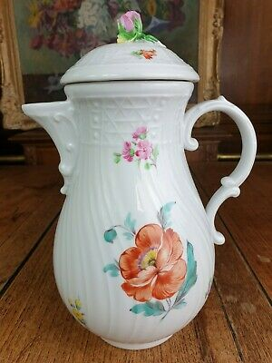 Dresden Porcelain Coffee Pot, Hand Decorated Flowers With Porcelain Rose On Lid • 19.85£