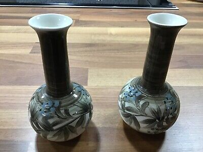 Pair Of Small Jersey Pottery Vases • 5.75£