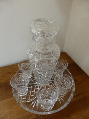 Vintage Crystal Cordial Set, Decanter, Tray And Glasses, Vgc • 16.99£