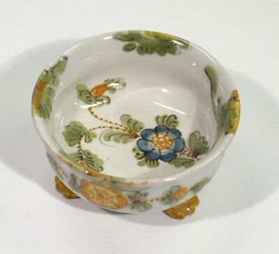 Antique Handpainted French Quimper Faience Footed Pottery Salt - Cockerel Mark. • 12.99£