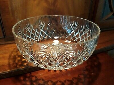 Large Vintage Lead Crystal Cut Glass Fruit Salad Bowl Bohemian Eclectic Design  • 14.75£