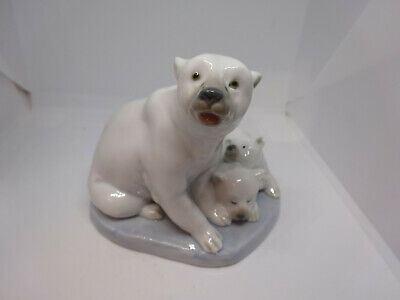 Lladro Figure Polar Bear With Two Cubs • 14£