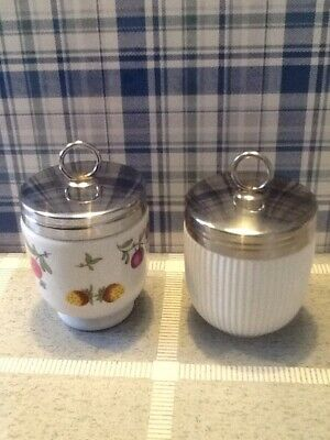 Two Rare Double Egg Coddlers In Good Condition White Ribbed & Mixed Fruits • 7.99£