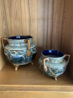 Graduated Pair Of Doulton Lambeth Art Nouveau Couldron Type Jardiniere On Feet • 130£