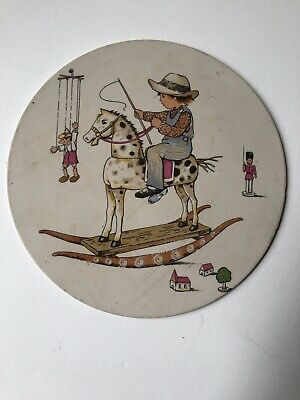 Vintage Hornsea Pottery Plaque, Child On Rocking Horse • 8.10£