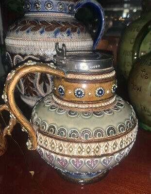 Doulton Lambeth Jug By Harriet Hibbut Dated 1880 With Halmarked Silver Lid • 125£