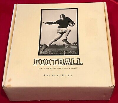 Pottery Barn Football Theme 9 1/8  Round Plates Vintage B&W Pictures Set Of 4 • 16.05£
