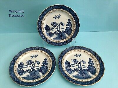 3 Real Old Willow Blue & White Willow Pattern Tea Plates - Great Condition • 8.99£