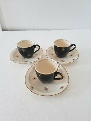 Alfred Meakin Midnight Star Trio Of Espresso Cups And Saucers Black And Gold  • 4.95£