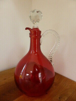 Antique Cranberry Glass Decanter And Stopper 25cm Twisted Handle, Star Base, Vgc • 14.99£