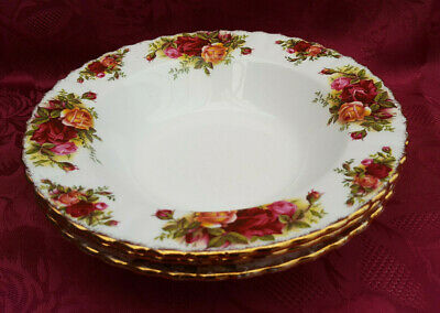 SET OF 3 ROYAL ALBERT  OLD COUNTRY ROSES  20cm RIMMED SOUP / PASTA BOWLS • 10.50£