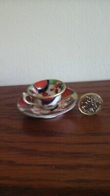 3 Welsh Gaudy Miniture Cups And Saucers In Lovely Condition. • 75£
