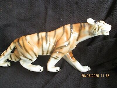 Royal Dux Smaller Prowling Tiger Figurine  Length 14 Ins • 25.99£
