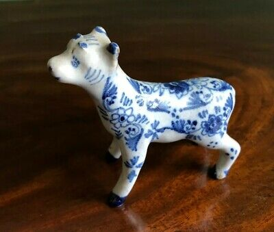 Blue And White Hand Painted Cow Antique Porcelain China Delft Style • 12.95£