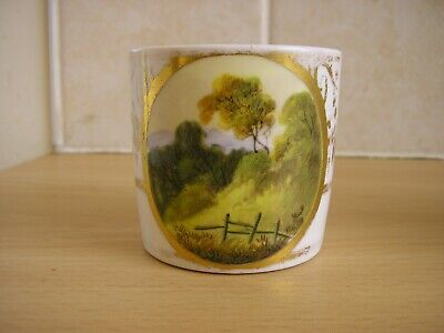 Antique Porcelain Coffee Can Hand Painted Pastoral Scene • 4£