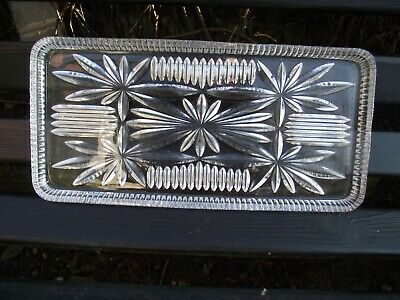 Stollen Tray / Dressing Table Tray Art Deco Clear Lead Glass Ernst Buder ?  • 10£