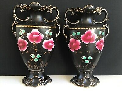 Pair Of Victorian Tall Twin Handles Black Vases With Red Roses Pattern • 22£