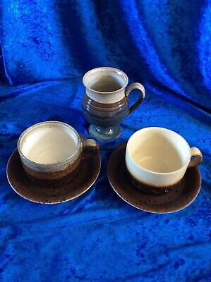 Iden Pottery Sussex Pair Of Non Matching Cups With Saucers • 1.95£
