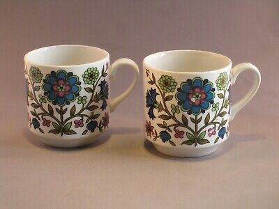 Vintage Midwinter 'Country Garden' 2 Cups Designed By Jessie Tait  • 6£
