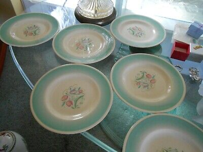 Susie Cooper Side Plates  X6 Lot Blue Dresden 7 Inches Across GC • 17.40£
