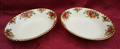 Pair Of Royal Albert  Old Country Roses   Open Vegetable Dishes **1st Quality** • 14.99£