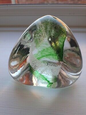 CAITHNESS Glass PEBBLE Paperweight Green And  White (6d) • 4.99£