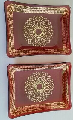 Pair Of Red Glass Rectangular Dishes • 8.50£