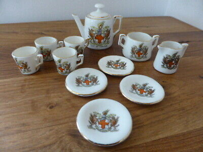 Crested China City Of London Miniature Tea Set, 11 Pieces, Vgc • 14.99£