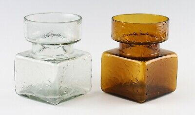 2 Vintage Riihimaki Helena Tynell Pala Textured Glass Vases; Amber & Light Grey • 34.99£