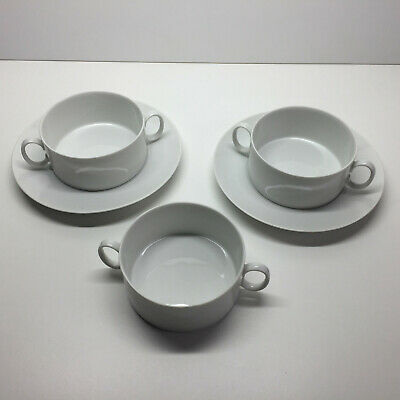 Thomas Of Germany White Handled Soup Bowls And Saucers Porcelain • 12.99£