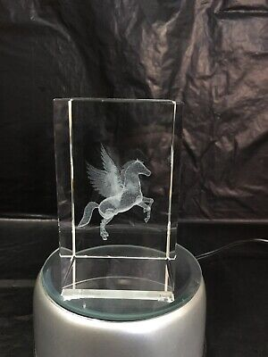 Pegasus Flying Horse 3D Laser Crystal Block - Ornament - Gift - Paperweight • 10£