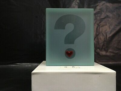 Question Mark Love Glass Block - Ornament - Gift - Paperweight - 5x6x1.5cm Boxed • 5£