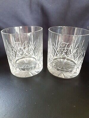 Pair Of Crystal Cut Glass Whiskey Tumblers His And Hers  • 14£