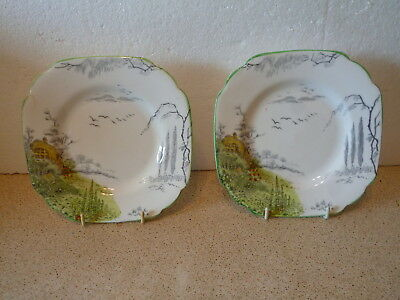 2 X Vintage Melba Ware England Square Plates Decorated With Garden Design • 4.99£