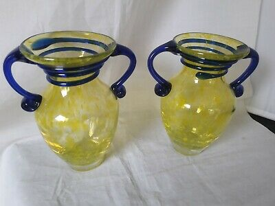 Pair Of Vintage Czech Yellow  & Blue Glass  Vases, Tango Glass (23d) • 19.99£